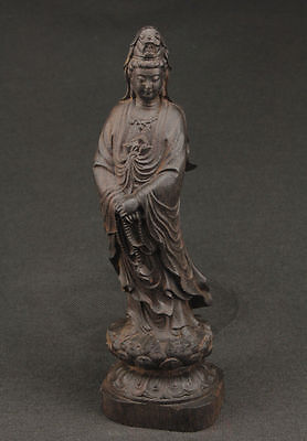 Collectible Chinese Ebony Hand Carved Kwan-Yin Statue