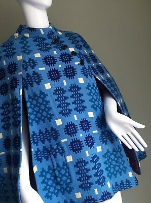 VINTAGE 60's WELSH Beautiful Blue Tapestry CAPE - Vtg Mod RETRO Wool Woven - S