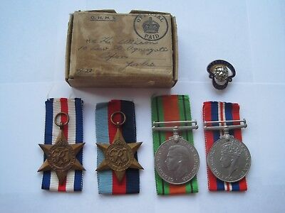 Ww2 Army Medal Group Of 4,boxed,british Legion Badge,from Ripon Yorks