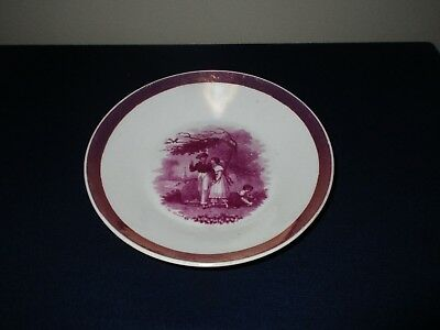 Antique 19th C Sunderland Porcelain China Pink Lustre Plate Dish The Thrush