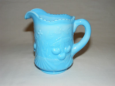 Vintage Antique Slag Blue Early American Preassed Wreathed Cherry Jug Pitcher