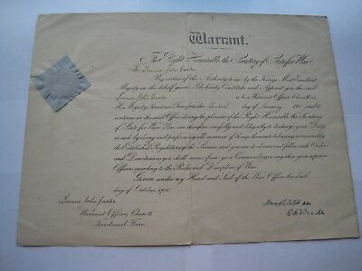 Ww1 Warrant Officers Commission & Service Certificate,gloucestershire Regiment