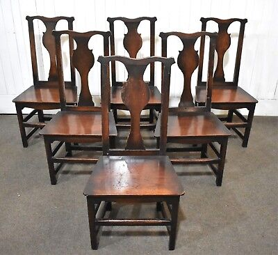 Antique style set of rustic farmhouse solid wood seat dining chairs