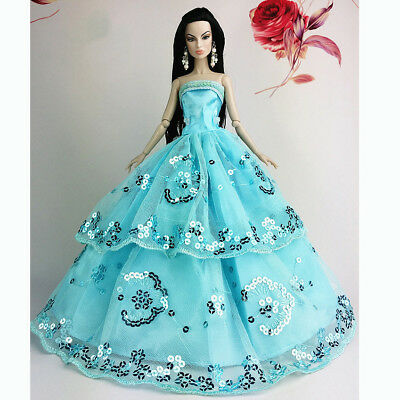 Blue Wedding Gown Dresses Outfit Girl Party For Princess Barbie Doll Gift
