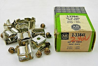 12 Allen Bradley Fuse Clips Set Z-33841 Lot 0-30a 600v 31-60a 250v Original Box