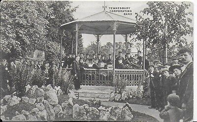 Rare Vintage Animated Postcard Of,the Tewkesbury Corporation Band,1909