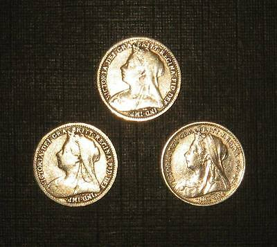 """3 x """"Historic Years"""" Queen Victoria silver threepence coins - 1899, 1900, 1901"""