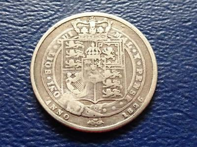 George Iiii Silver Sixpence 1826 Shield Type Great Britain Uk