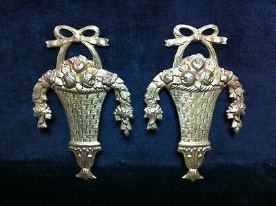 Pair of French Style Antique BRASS HANGING FLOWER BASKET Floral Garland Wall 2