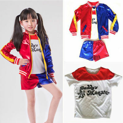 Suicide Squad Harley Quinn T-shirt Jacket Shorts Kids Girls Cosplay Clothes Set