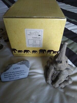 """The Herd Martha Carey #3144 """"Lucky"""" Elephant Trunk Up with Story Stone Orig Box"""