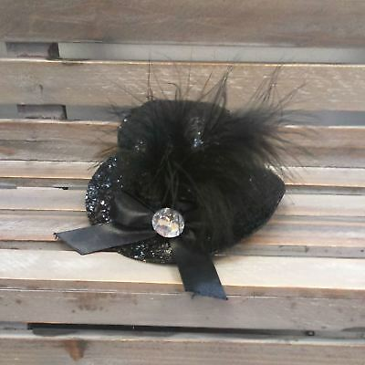 *Mini Black Glitter Top Hat With Sequins Feathers Burlesque Fancy Dress Hen Do*