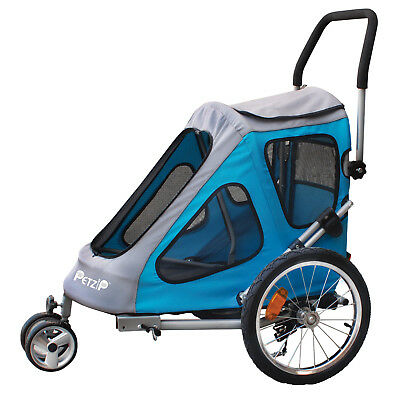 New Petzip Zoom Pet Bike Trailer and Stroller in Blue or Red for dogs up to 75#