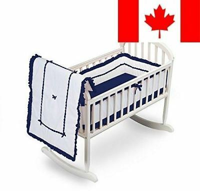 BbayDoll Unique Cradle Bedding Set, Navy