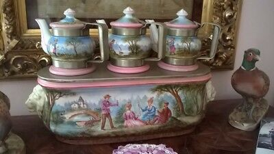 Antique French Veilleuse 8 piece Coffee/Tea Warmer Excellent Condition
