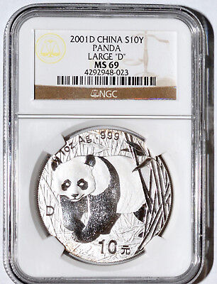"2001 China 10 Yuan ""Large D"" Silver Panda Coin NGC MS 69"