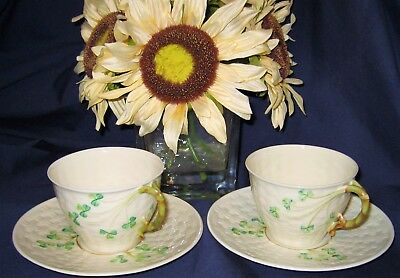 Belleek Shamrock - Basket Weave Teacup Sets (2)