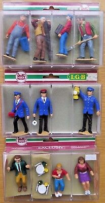 LGB 3 SETS of BOXED FIGURES 10 in TOTAL, GUARDS, WORKMEN, PEOPLE SITTING + SIGNS