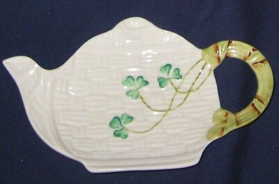 Belleek Shamrock - Basket Weave- Teapot Shape, Spoon Rest