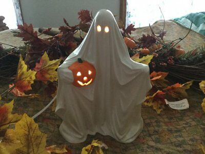 Vintage Ceramic Lighted Halloween Ghost Holding Pumpkin Scary Halloween Ghost
