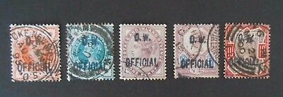"GB QV  Set ""Office of Work."" Officials.Very Fine Used c.d.s.. Set of 5"