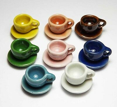 16-Piece Dollhouse Miniature Mixed Ceramic Cups & Saucers Set *Dishes Plates Cup