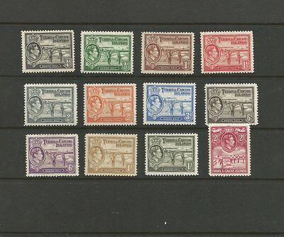 TURKS & CAICOS 1938 PART M/MINT STAMP SET SG194-201,201a,202,202a,203