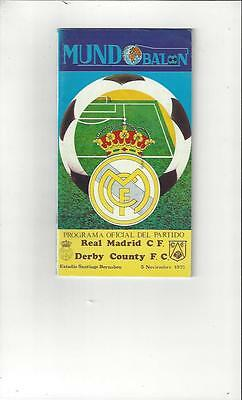 Real Madrid v Derby County European Cup 1975/76 Football Programme
