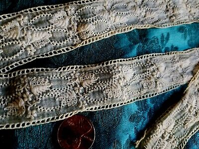 """Antique tiny Embroidered flowers vintage lace trim 1 Yard +15"""""""