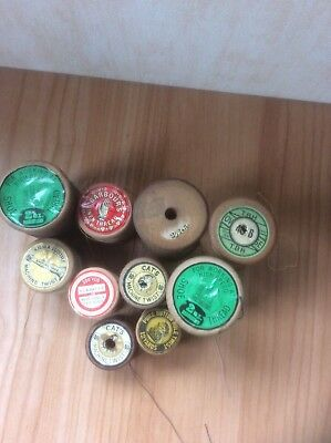 10 Vintage  Wooden Cotton Reels Bobbins, Ermen & Roby, Barbours, Cats, Arma Etc