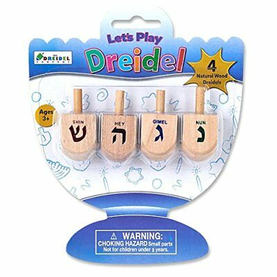 Let's Play Dreidel The Hanukkah Game 4 Natural Wooden Draydels With Instructions