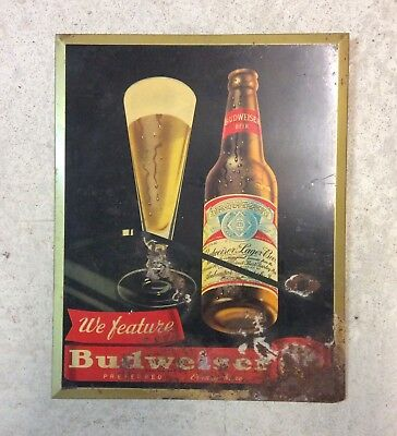 Old Budweiser Beer Sign Tin Over Cardboard TOC St Louis MO Advertising