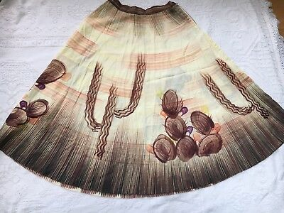 Vintage 50s Hand Painted Mexican Circle Skirt cactus Novelty