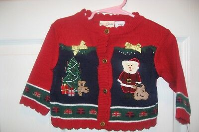 Baby Girls Red Christmas Sweater. CARDIGAN 3-6 Months NEW