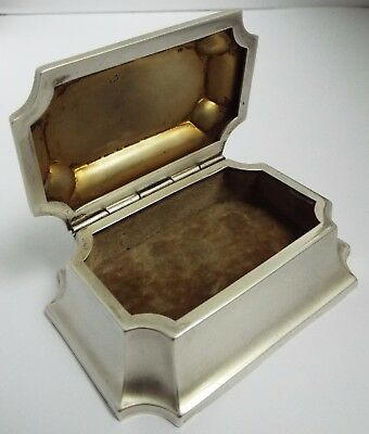 Stunning English Antique 1914 Solid Sterling Silver Casket Shape Jewel Table Box