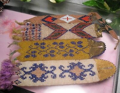 Antique Seed Bead Ribbons 2 with Leather Buttonhole Beadwork Adornment