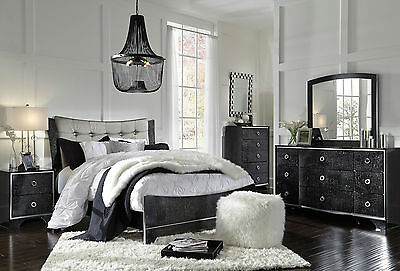CIARA 5 pieces Glossy Black Bedroom Set w/ Queen Size Fabric Headboard Panel Bed