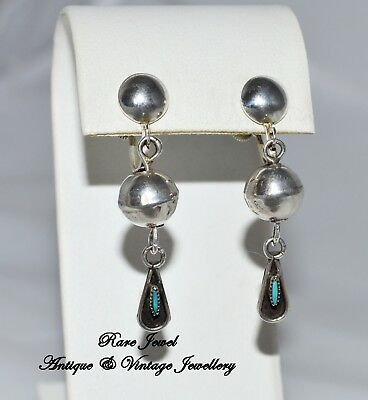 Vintage Sterling Silver & Turquoise Native American Earrings Fabulous