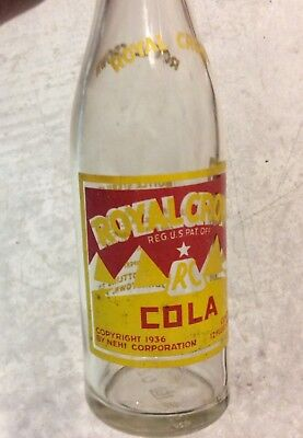 Old Royal Crown Cola Soda Pop Bottle Painted Label Johnstown PA Advertising