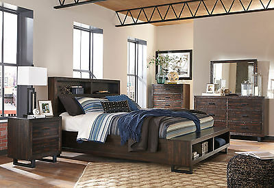 ALICE 5 pieces Brown Bedroom Set Furniture w/ King Size Bookcase Headboard Bed