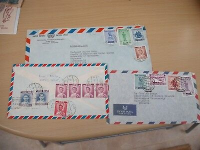 Three air mail covers Thailand Siam multi stamps  & cancels posted to UK 1954