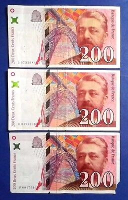 FRANCE: 3 x 200 Francs Banknotes Very Fine Condition