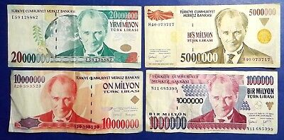 TURKEY: Set of 4 Lira Banknotes  - Fine Condition