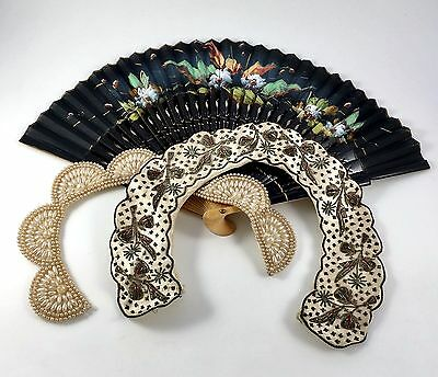 2 Collars Fan Beaded Faux Pearl Hand Made Floral Japan Retro Vintage Bundle Lot