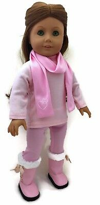 """Pink Top, Leggings & Scarf w/Hearts Outfit for 18"""" American Girl Doll Clothes"""