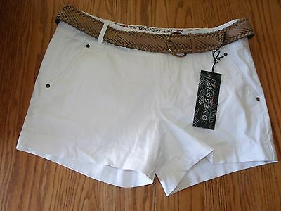 Nwt Womens One 5 One 151 Denim Rinse Belted White Shorts Size 12 14 16 Casual