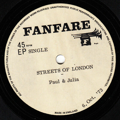Paul & Julia 1973 Acetate *yesterday Once More/ Streets Of London* Acoustic Folk