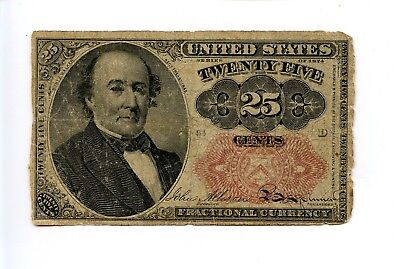 Fifth 5th Issue 25C 25 Cent Fractional Currency Note Rough Edges 1874 AA0956