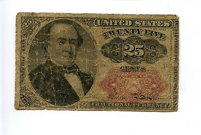 Fifth 5th Issue 25C 25 Cent Fractional Currency Note Tears Holes 1874 AA0949