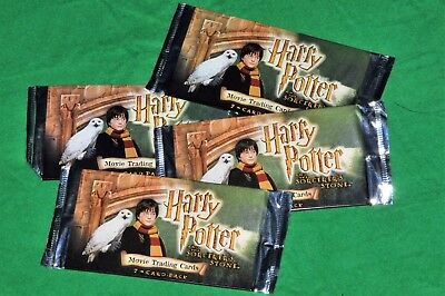 4 Unopened Packs Of Harry Potter And The Sorcerers Stone Movie Trading Cards